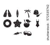 beach icon set | Shutterstock .eps vector #572535742