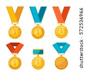 winner medals with red  blue... | Shutterstock .eps vector #572536966