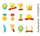 hanging medals  glass awards ... | Shutterstock .eps vector #572536972
