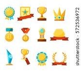 hanging medals  glass awards ... | Shutterstock .eps vector #572536972