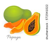 papaya whole and half isolated... | Shutterstock .eps vector #572541022