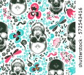 floral seamless pattern with... | Shutterstock .eps vector #572543416