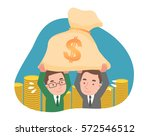 two men holding money and a lot ... | Shutterstock .eps vector #572546512