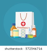 paper packet with medicine... | Shutterstock .eps vector #572546716