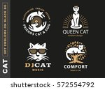 set logo illustration with cats ... | Shutterstock .eps vector #572554792