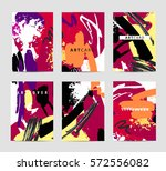vector set of artistic creative ... | Shutterstock .eps vector #572556082