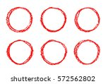 set of red hand drawing round... | Shutterstock .eps vector #572562802