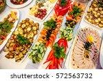 catering banquet table  buffet... | Shutterstock . vector #572563732