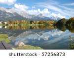 "Sky mirroring in Lake called ""Ritzensee"" in Saalfelden, Austria - stock photo"