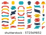 ribbon vector icon set on white ... | Shutterstock .eps vector #572569852
