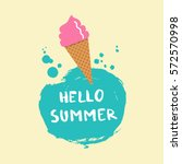 pink ice cream in  a cone on a... | Shutterstock .eps vector #572570998
