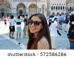 smiling girl with sunglasses ... | Shutterstock . vector #572586286
