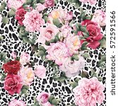 seamless floral pattern with... | Shutterstock . vector #572591566