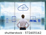 cloud synchronizing between... | Shutterstock . vector #572605162
