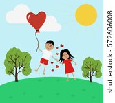 boy and girl in love flying on... | Shutterstock .eps vector #572606008