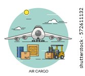 freight airplane flat outline... | Shutterstock .eps vector #572611132