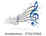 colorful music notes background | Shutterstock .eps vector #572615362
