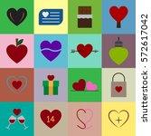valentine icon set vector...   Shutterstock .eps vector #572617042
