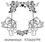 oval label with outline roses...   Shutterstock . vector #572626795
