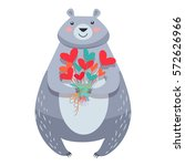 white bear with bouquet of...