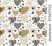 cute hearts seamless background.... | Shutterstock .eps vector #572627512