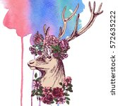 fabulous deer in a wreath of... | Shutterstock . vector #572635222