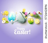 cute easter greeting card with... | Shutterstock .eps vector #572642896