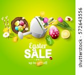 easter sale flyer with flowers  ... | Shutterstock .eps vector #572643556