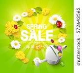 spring sale flyer   flowers ... | Shutterstock .eps vector #572643562