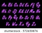 neon alphabet font in purple... | Shutterstock .eps vector #572650876