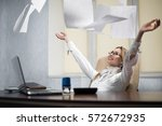 woman office worker throws the... | Shutterstock . vector #572672935