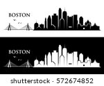 boston skyline   massachusetts  ... | Shutterstock .eps vector #572674852