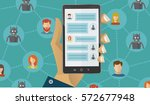 chatbot concept. people... | Shutterstock .eps vector #572677948