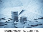rows of coins on savings... | Shutterstock . vector #572681746