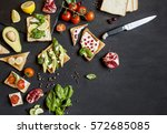 fruit vegetables sandwiches on... | Shutterstock . vector #572685085