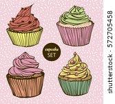 hand drawn cupcake set | Shutterstock .eps vector #572705458