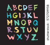colorful vector ink alphabet.... | Shutterstock .eps vector #572709958