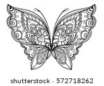 Stock vector hand drawn butterfly zentangle style inspired for t shirt design or tattoo coloring book for kids 572718262