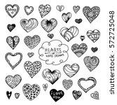 hearts set doodle vector black | Shutterstock .eps vector #572725048