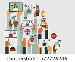 people communicate online in... | Shutterstock .eps vector #572726236