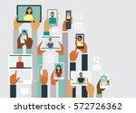 human hands holding various... | Shutterstock .eps vector #572726362
