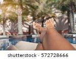 closeup barefoot woman legs at... | Shutterstock . vector #572728666