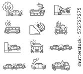car crashes icons set.... | Shutterstock .eps vector #572737375