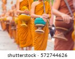 Buddhist Monks Line Up In Row...