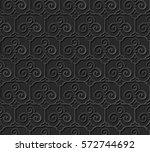 3d paper art pattern trefoil... | Shutterstock .eps vector #572744692