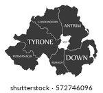 northern ireland map labelled... | Shutterstock .eps vector #572746096