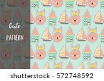 cute seamless pattern with ship ... | Shutterstock .eps vector #572748592