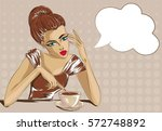 pin up style bored woman with...   Shutterstock .eps vector #572748892