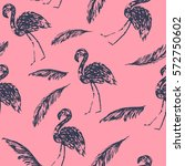 summer flamingo and palm leaves ... | Shutterstock .eps vector #572750602