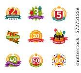 happy birthday badges vector... | Shutterstock .eps vector #572751226